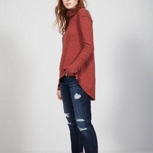 We The Free Split Back Turtleneck Sweater Lg Red
